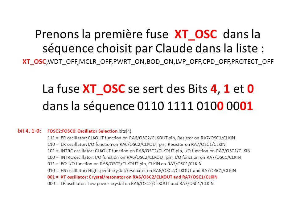 La fuse XT_OSC se sert des Bits 4, 1 et 0