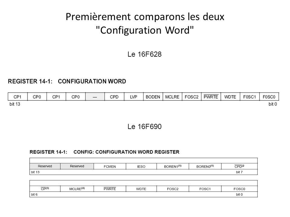 Premièrement comparons les deux Configuration Word