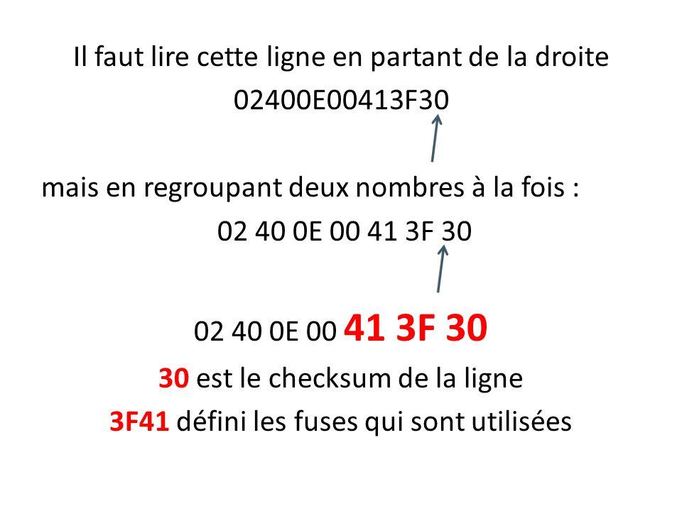 Il faut lire cette ligne en partant de la droite 02400E00413F30 mais en regroupant deux nombres à la fois : 02 40 0E 00 41 3F 30 30 est le checksum de la ligne 3F41 défini les fuses qui sont utilisées