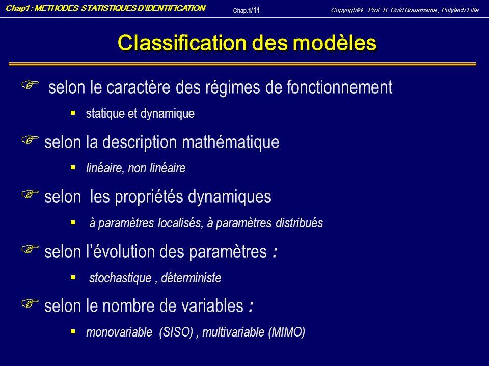 Classification des modèles