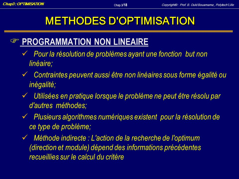 METHODES D OPTIMISATION