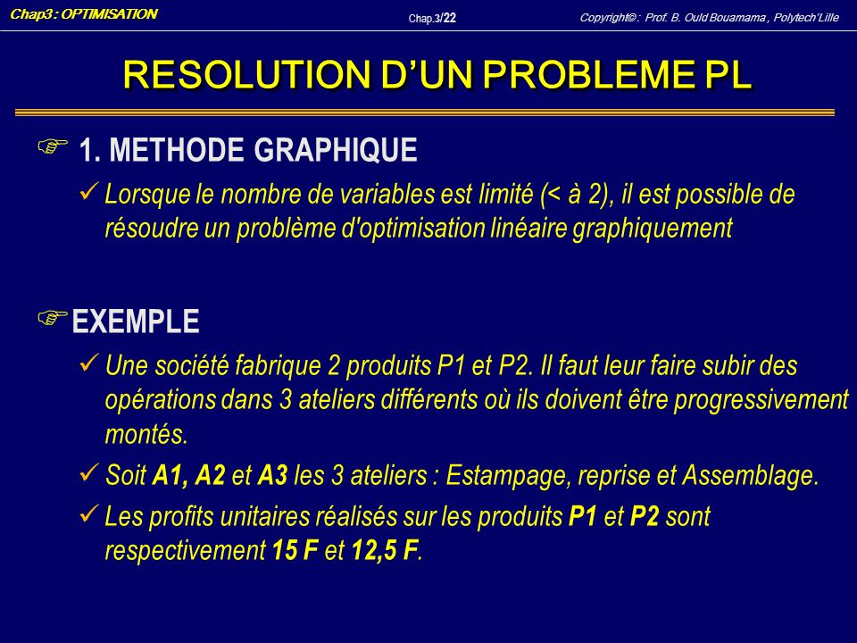 RESOLUTION D'UN PROBLEME PL