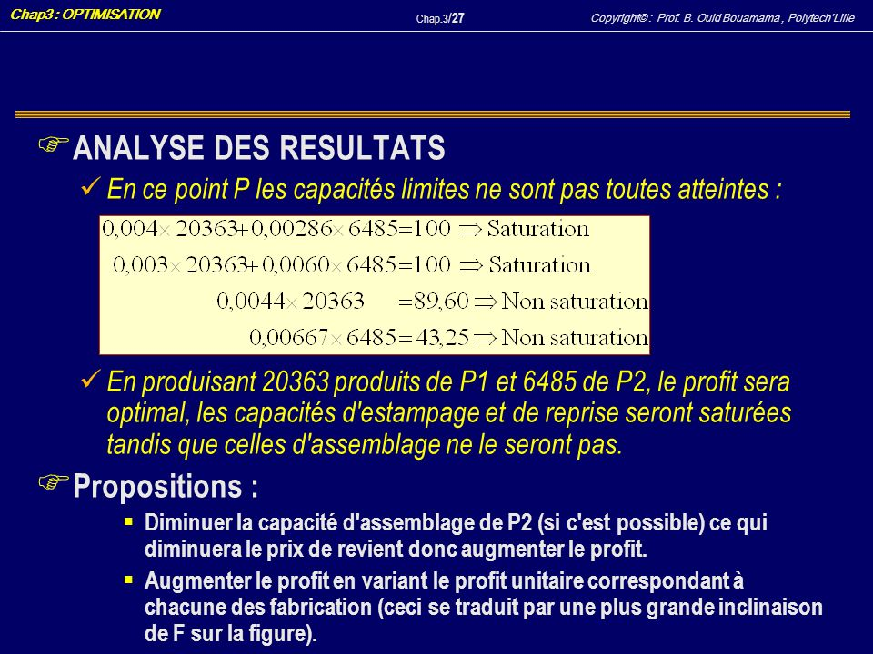 ANALYSE DES RESULTATS Propositions :