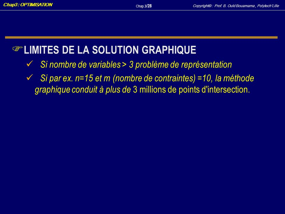 LIMITES DE LA SOLUTION GRAPHIQUE