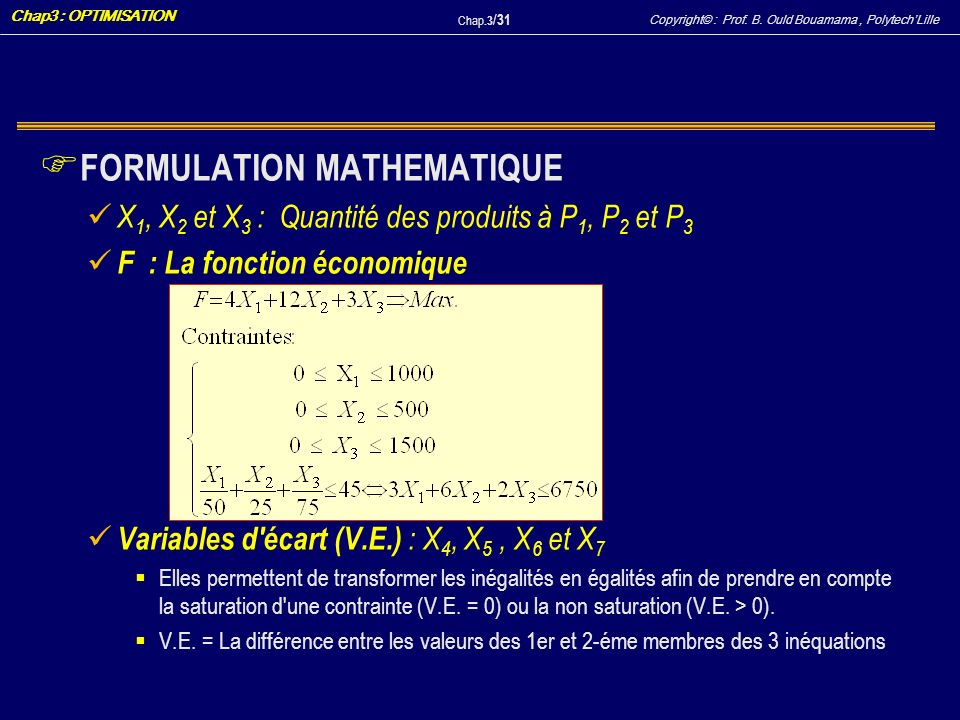 FORMULATION MATHEMATIQUE