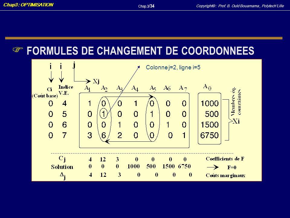 FORMULES DE CHANGEMENT DE COORDONNEES
