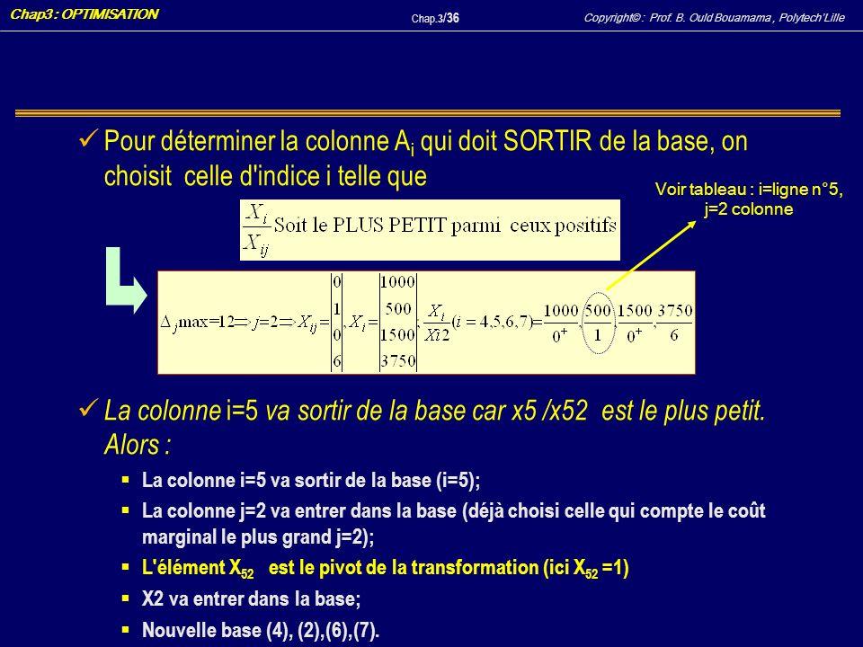 Voir tableau : i=ligne n°5, j=2 colonne