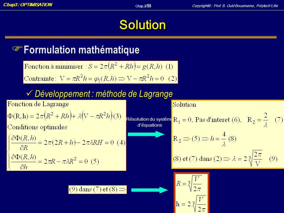 Résolution du système d'équations