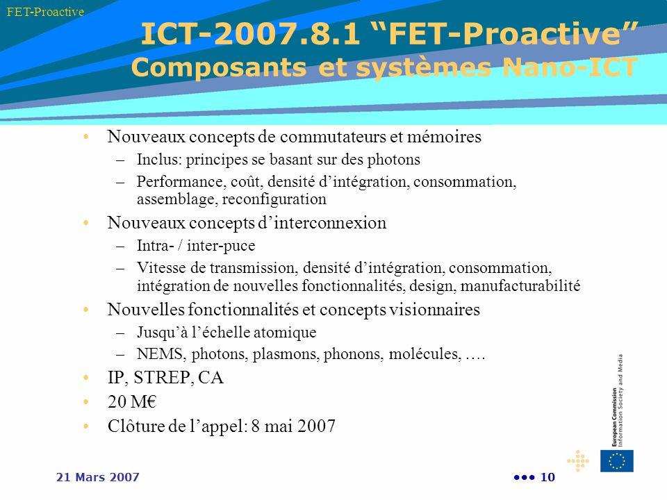 ICT-2007.8.1 FET-Proactive Composants et systèmes Nano-ICT