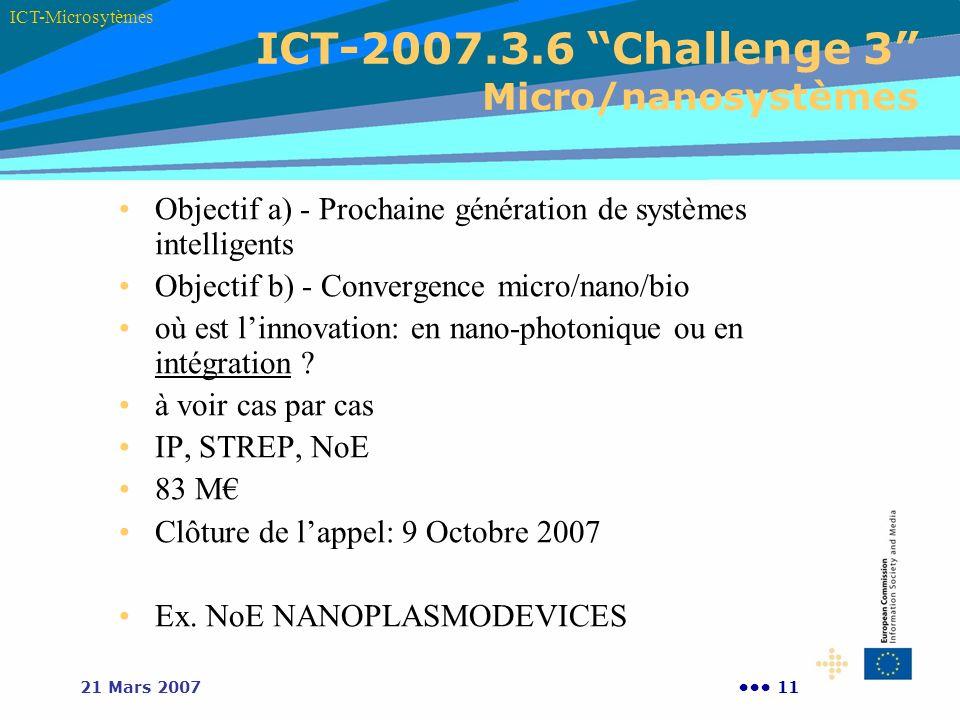 ICT-2007.3.6 Challenge 3 Micro/nanosystèmes
