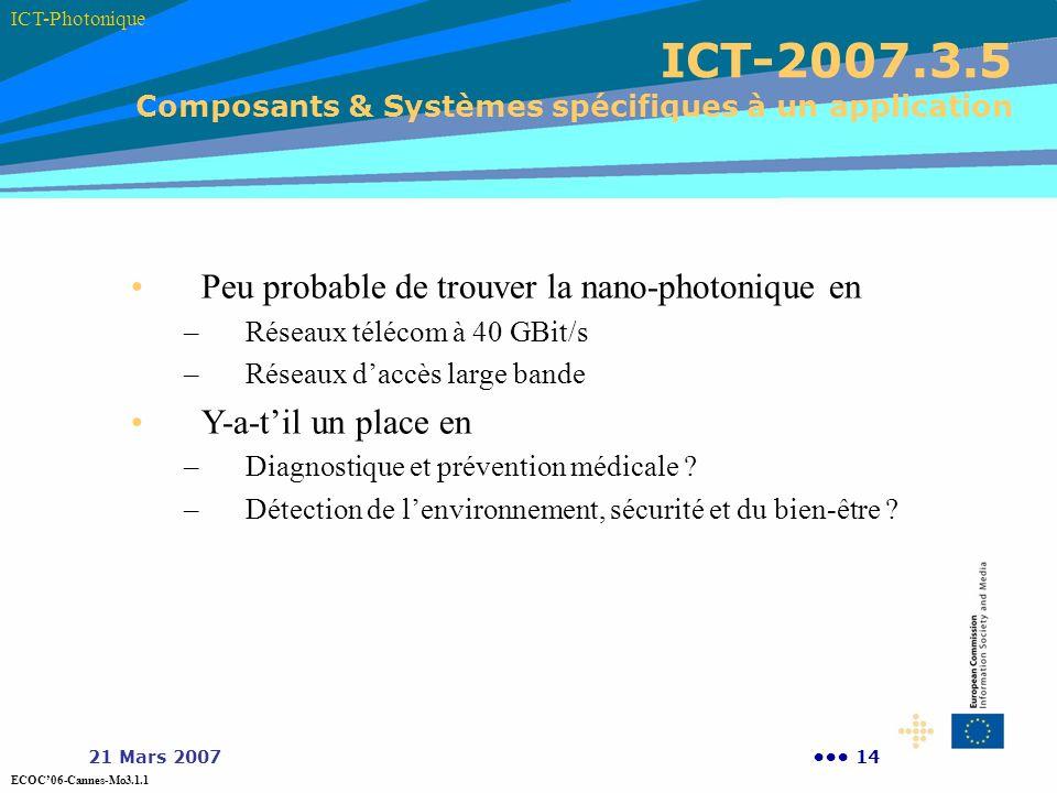 ICT-2007.3.5 Composants & Systèmes spécifiques à un application