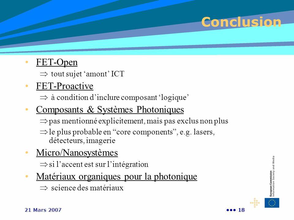 Conclusion FET-Open FET-Proactive Composants & Systèmes Photoniques