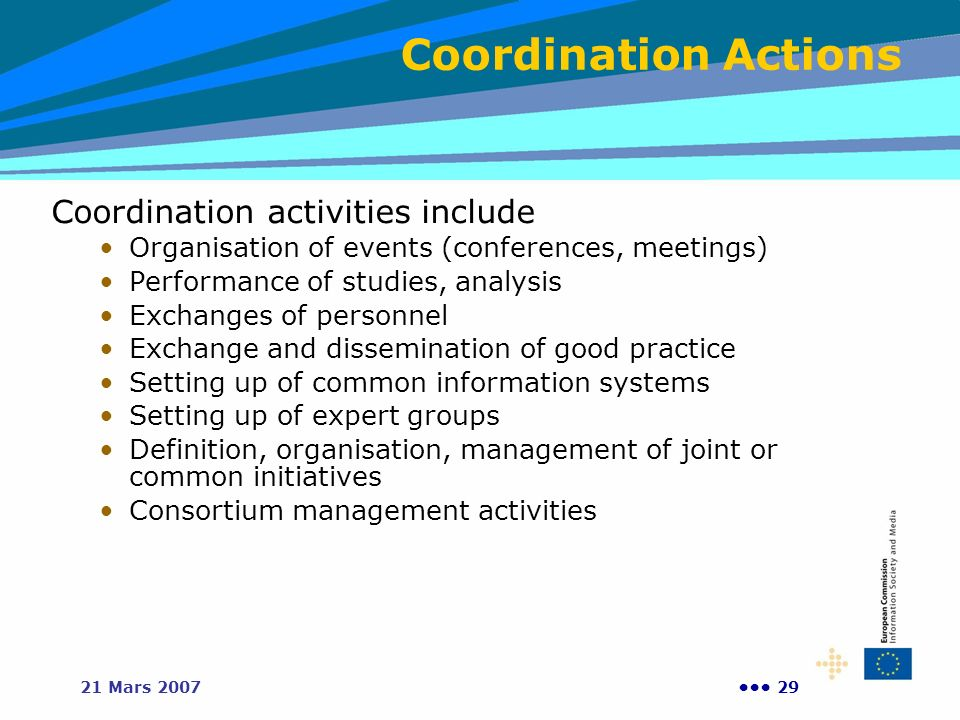 Coordination Actions Coordination activities include