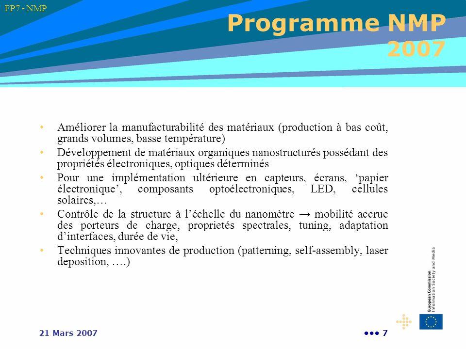 FP7 - NMP Programme NMP 2007. Améliorer la manufacturabilité des matériaux (production à bas coût, grands volumes, basse température)