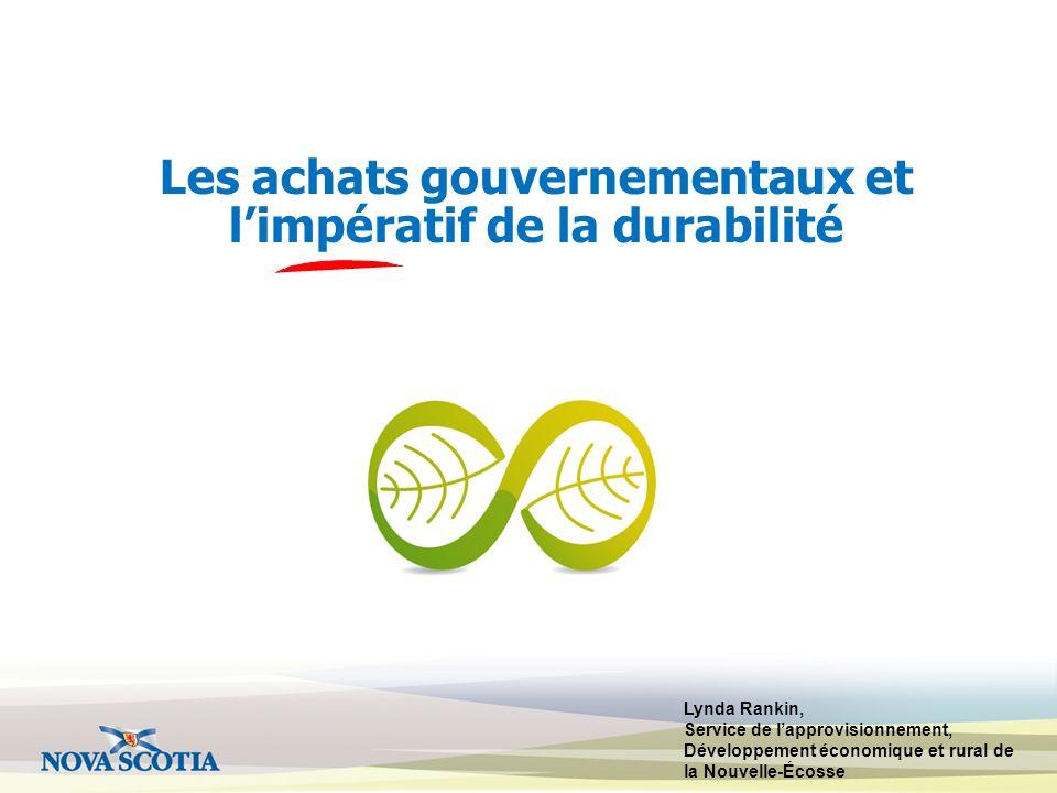 Les achats gouvernementaux et l'impératif de la durabilité