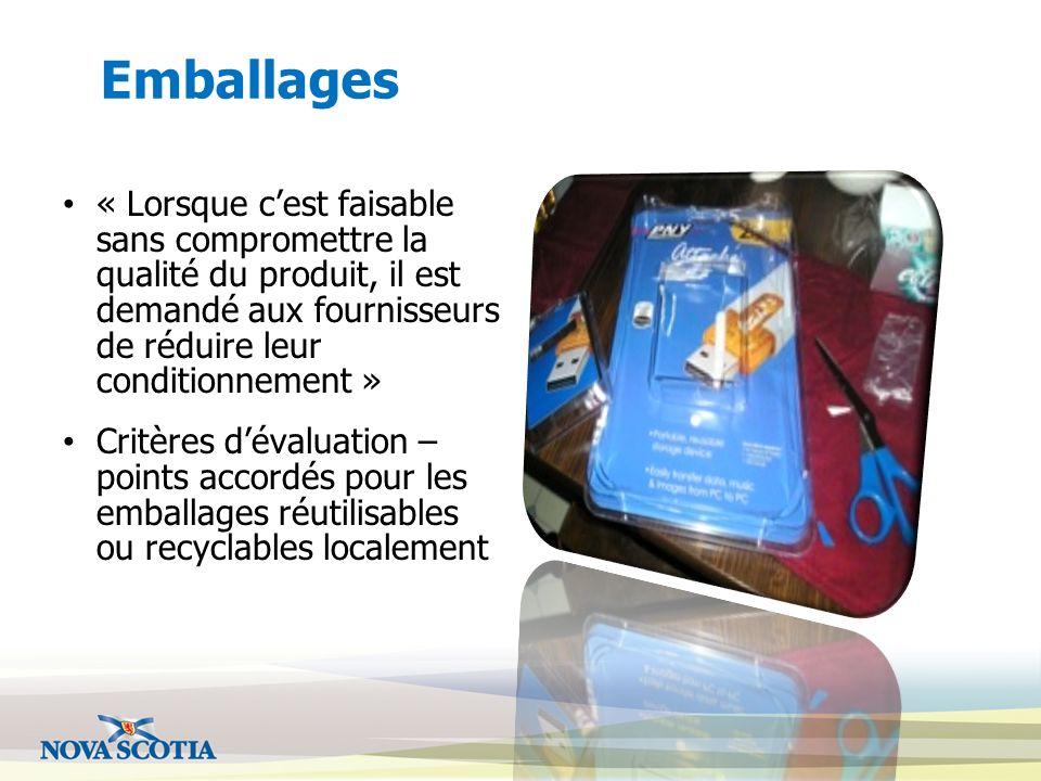 Emballages « Lorsque c'est faisable sans compromettre la qualité du produit, il est demandé aux fournisseurs de réduire leur conditionnement »