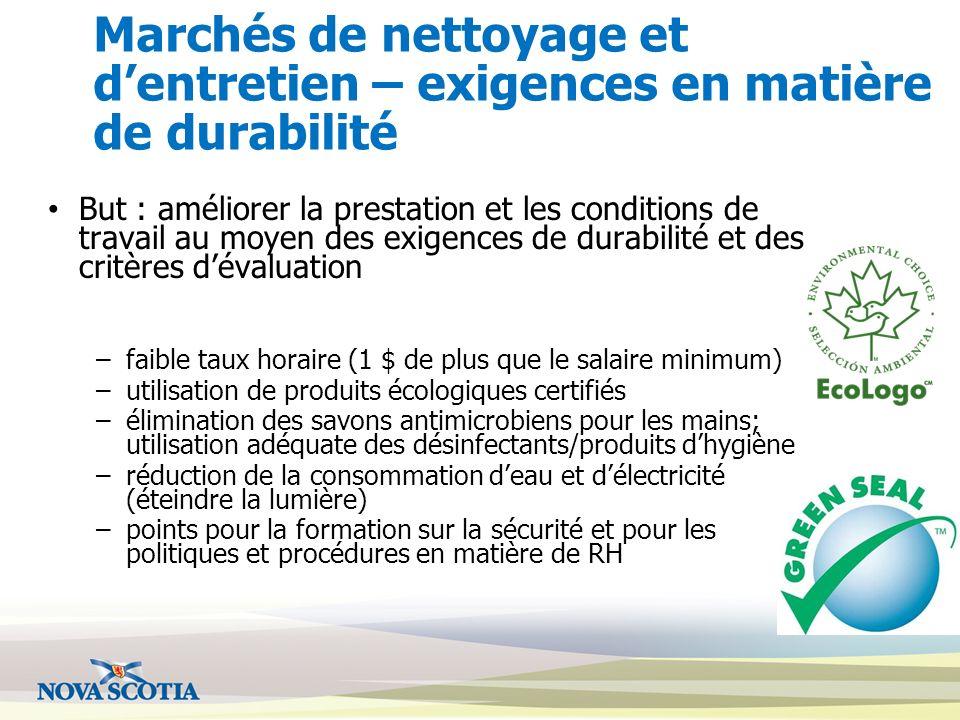Marchés de nettoyage et d'entretien – exigences en matière de durabilité