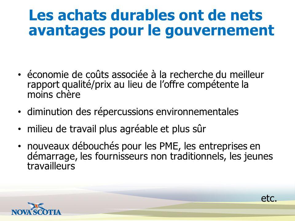 Les achats durables ont de nets avantages pour le gouvernement