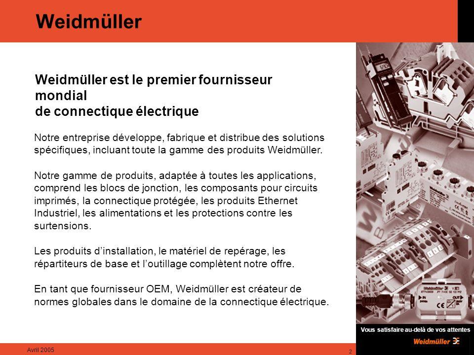 Weidmüller Weidmüller est le premier fournisseur mondial