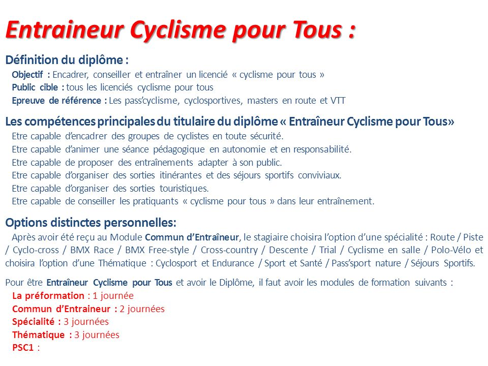 Entraineur Cyclisme pour Tous :