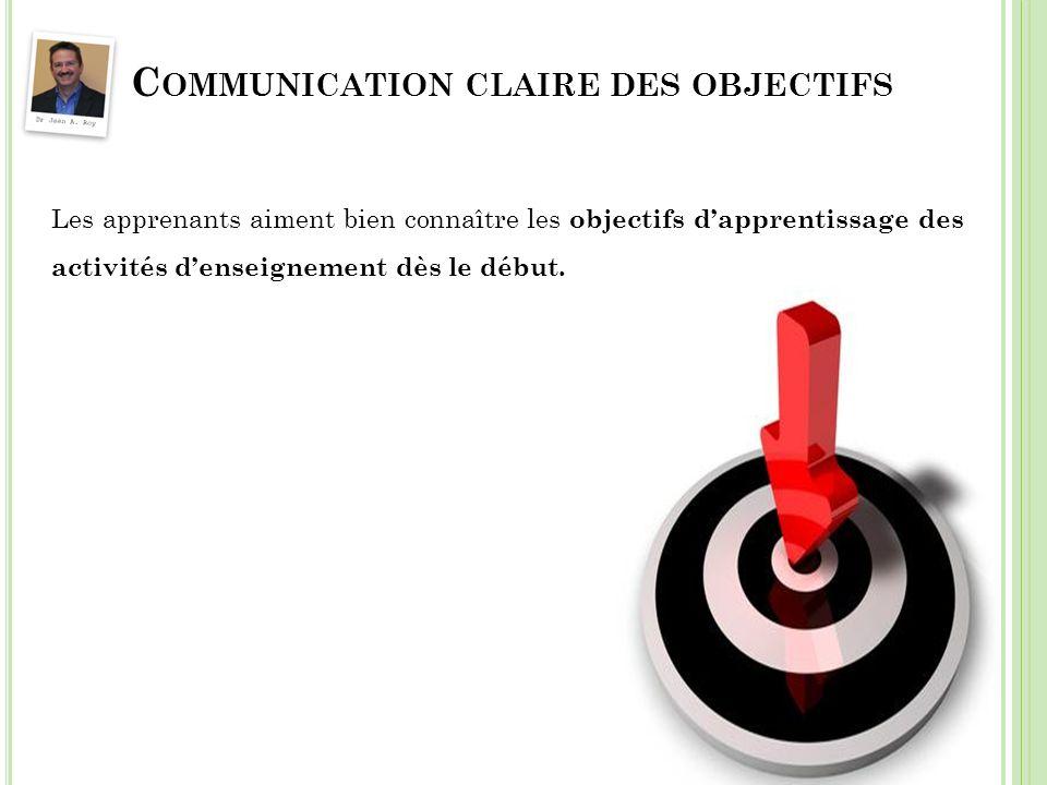 Communication claire des objectifs