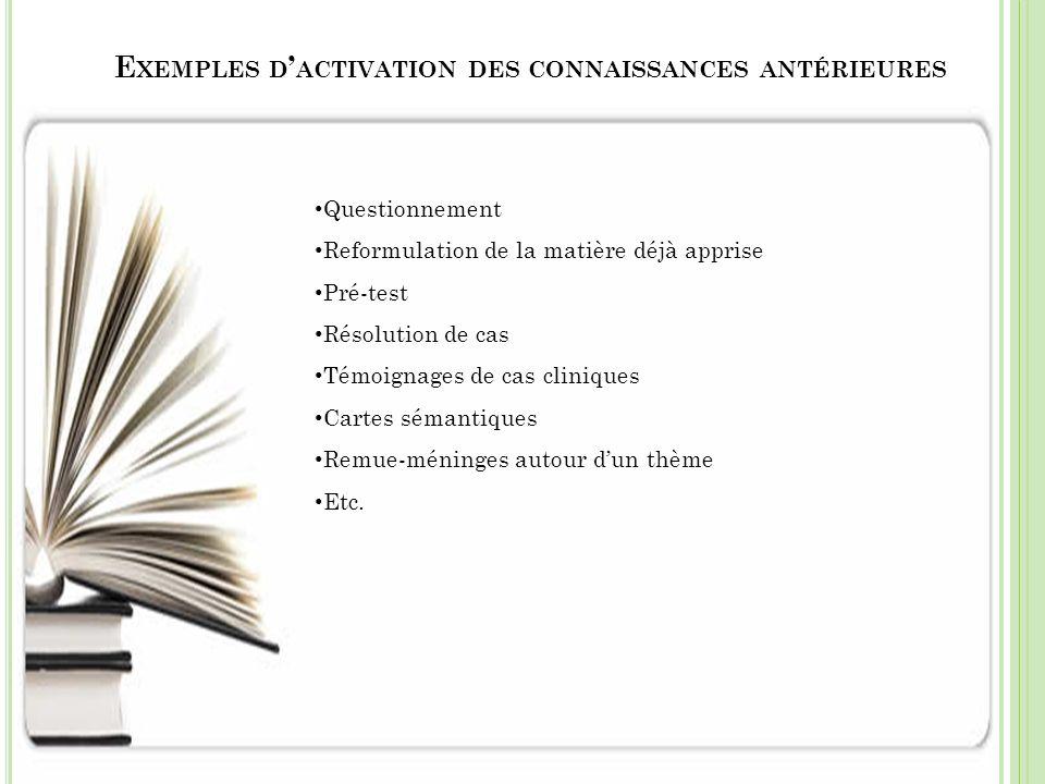 Exemples d'activation des connaissances antérieures