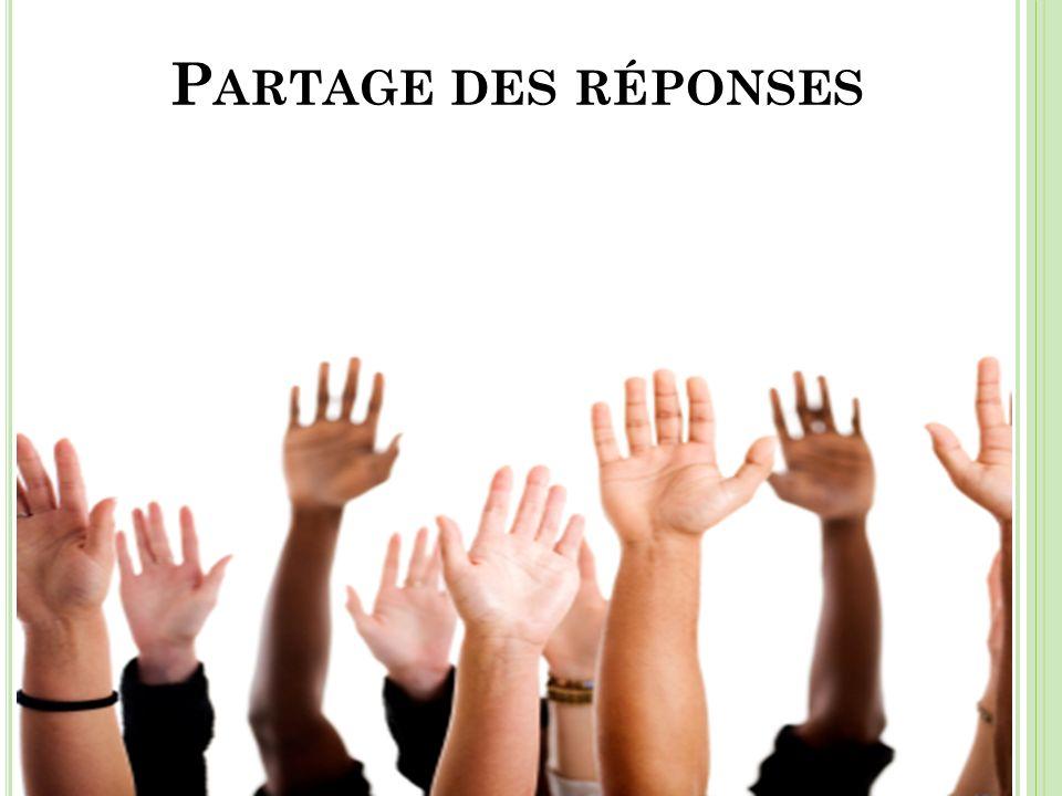 Partage des réponses Temps : Partage des réponses à mains levées (2 minutes) Responsable : Jean Roy.