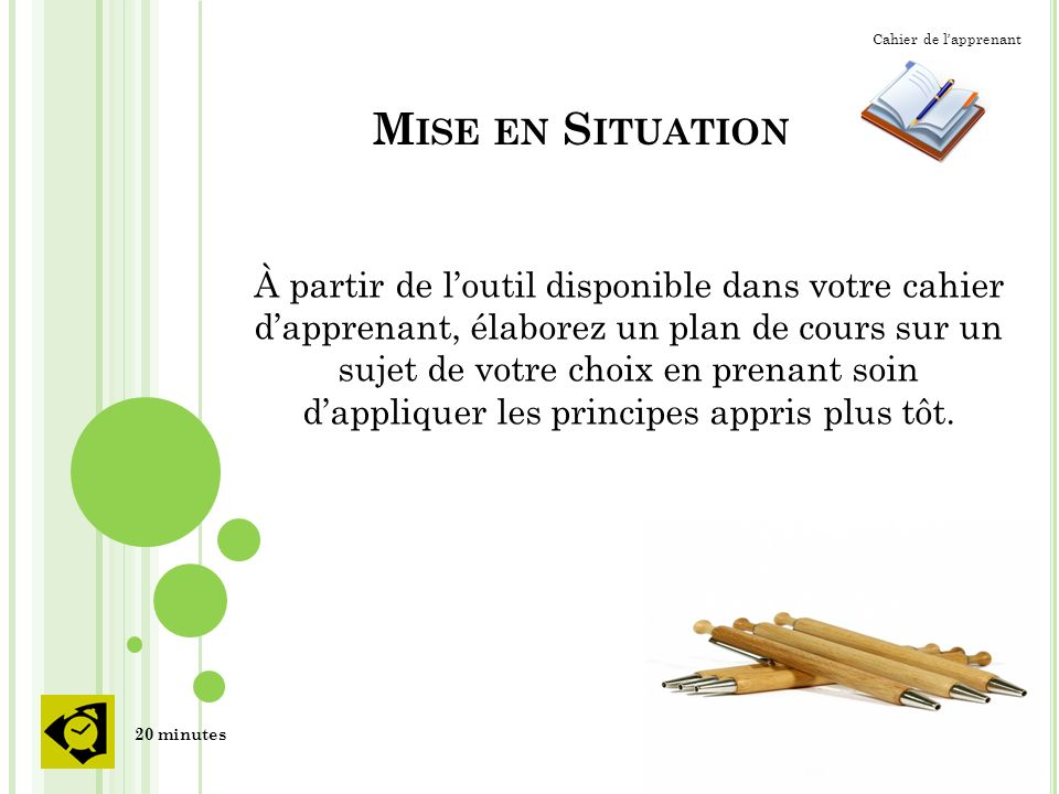 Cahier de l'apprenant Mise en Situation.