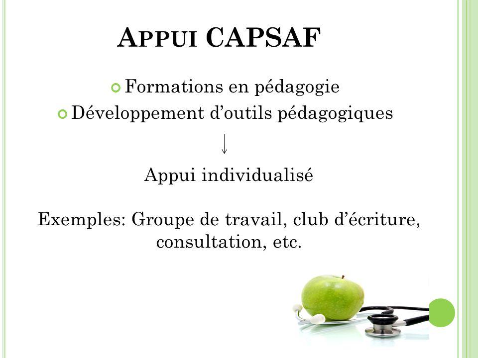 Appui CAPSAF Formations en pédagogie