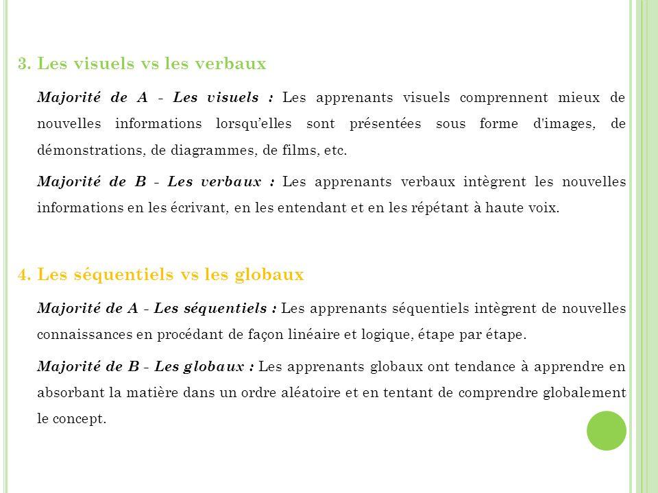 3. Les visuels vs les verbaux