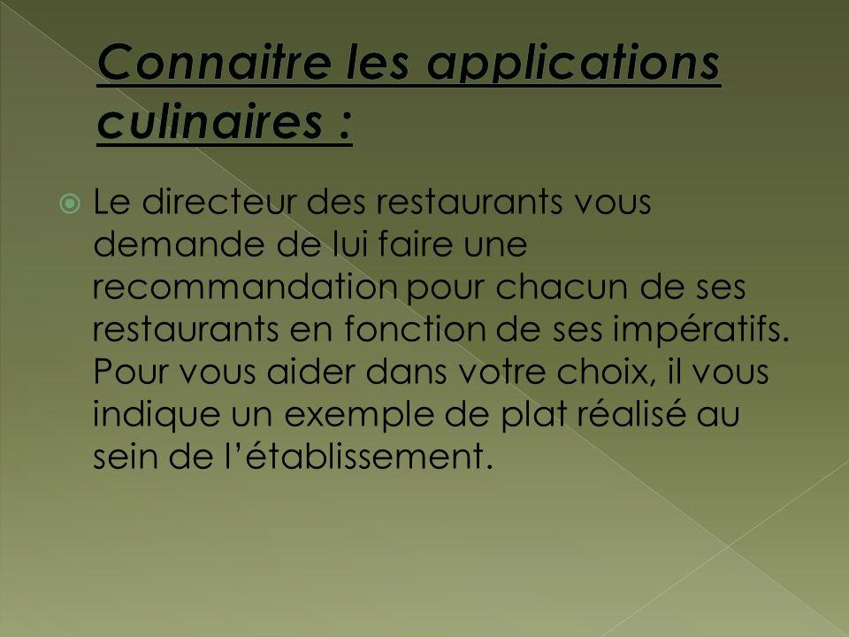 Connaitre les applications culinaires :