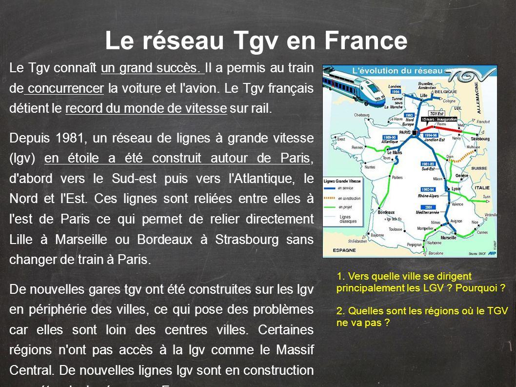 Le réseau Tgv en France