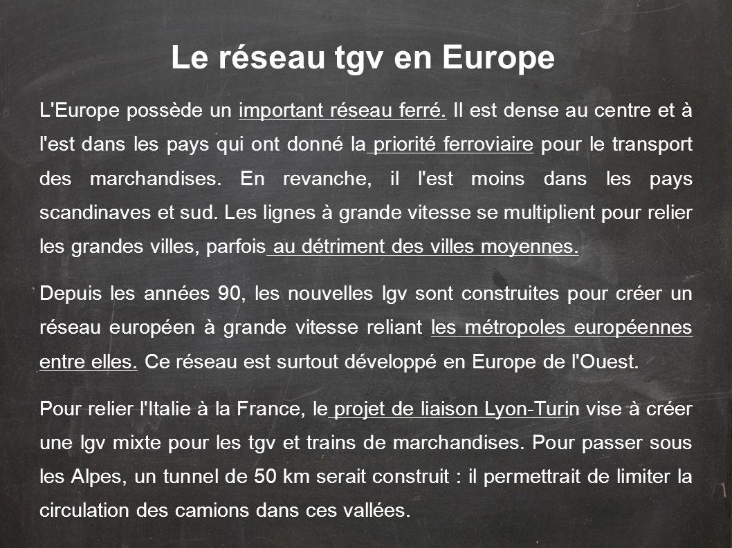 Le réseau tgv en Europe