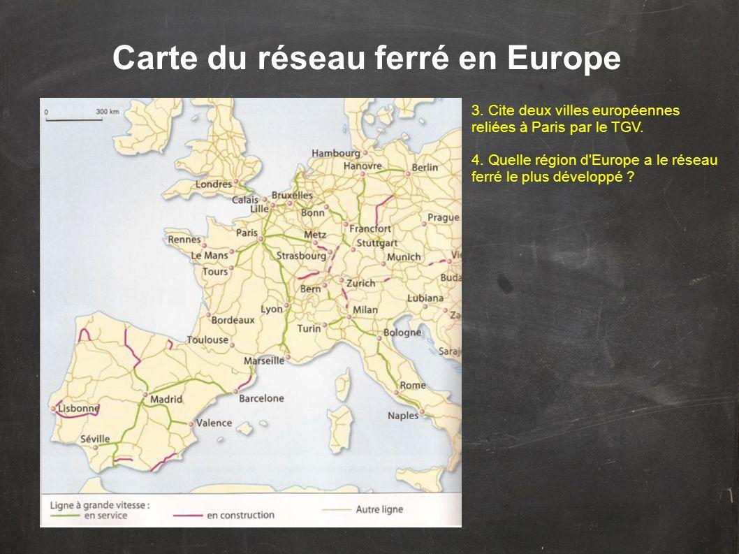 Carte du réseau ferré en Europe