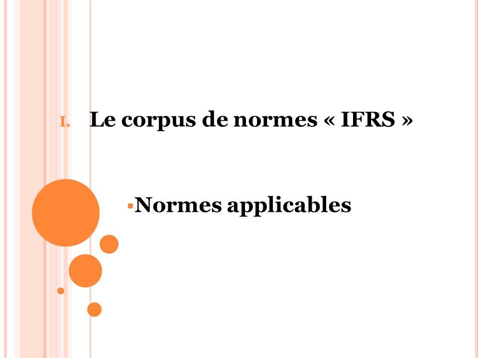 Le corpus de normes « IFRS » Normes applicables