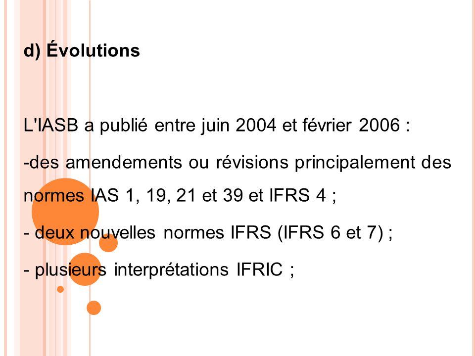 d) ÉvolutionsL IASB a publié entre juin 2004 et février 2006 :