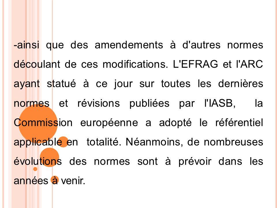 -ainsi que des amendements à d autres normes découlant de ces modifications.