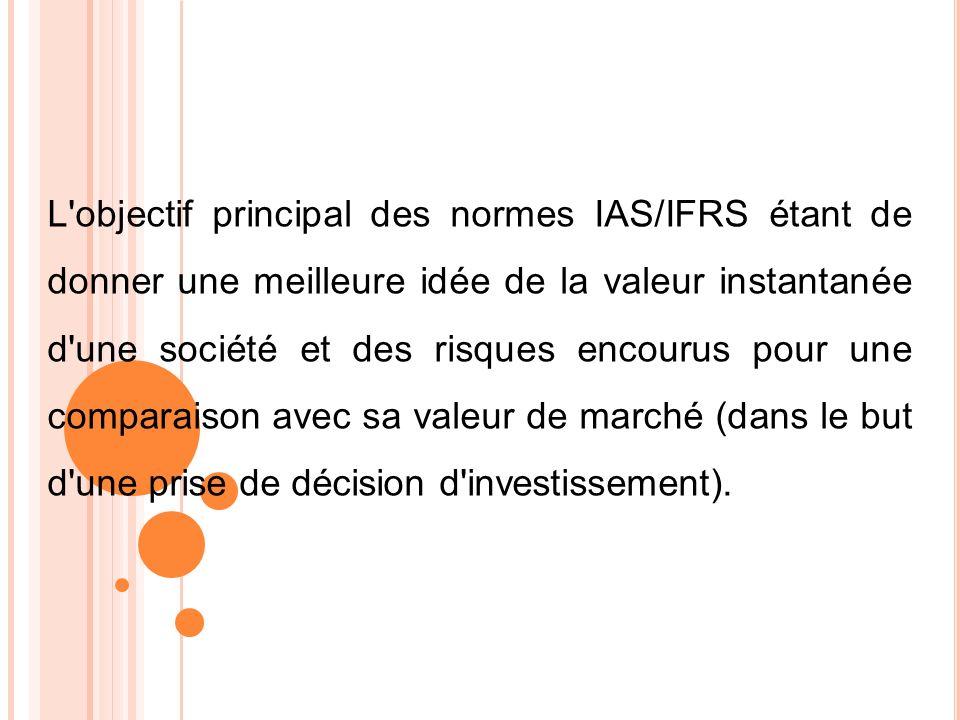 L objectif principal des normes IAS/IFRS étant de donner une meilleure idée de la valeur instantanée d une société et des risques encourus pour une comparaison avec sa valeur de marché (dans le but d une prise de décision d investissement).