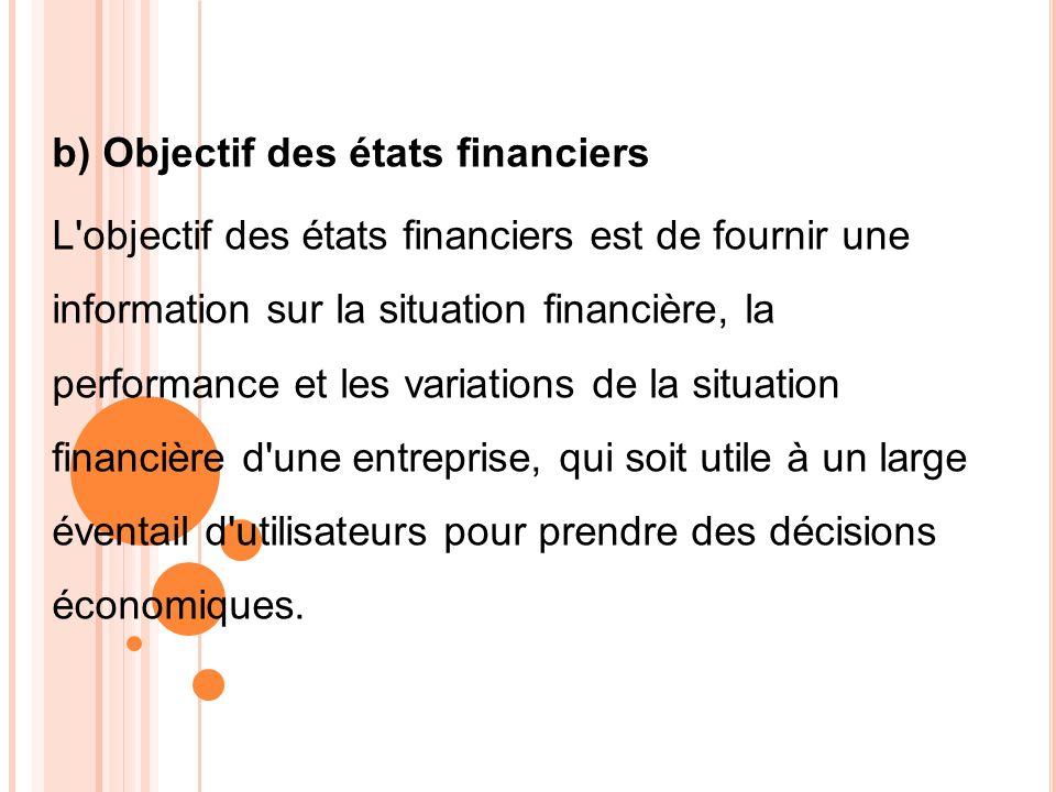b) Objectif des états financiers