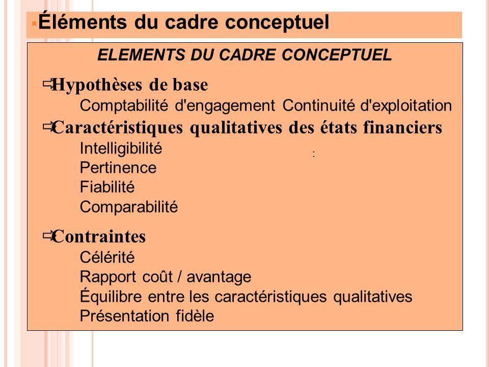 Éléments du cadre conceptuel