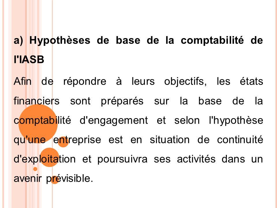 a) Hypothèses de base de la comptabilité de l IASB