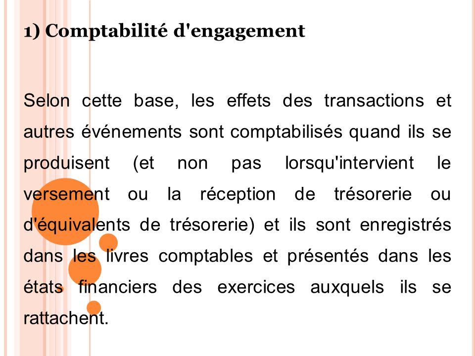 1) Comptabilité d engagement