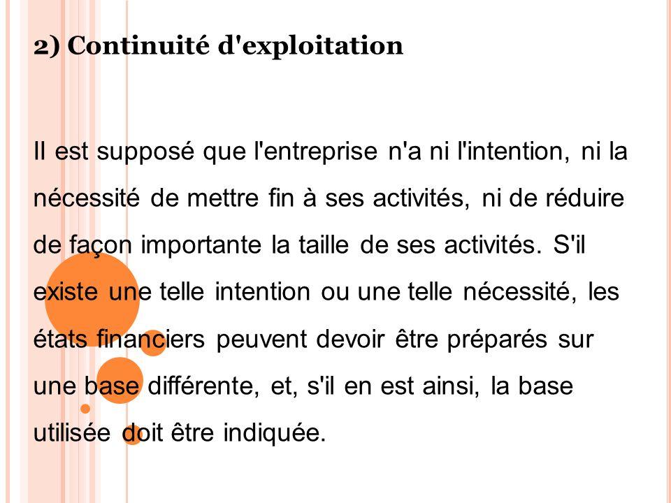 2) Continuité d exploitation
