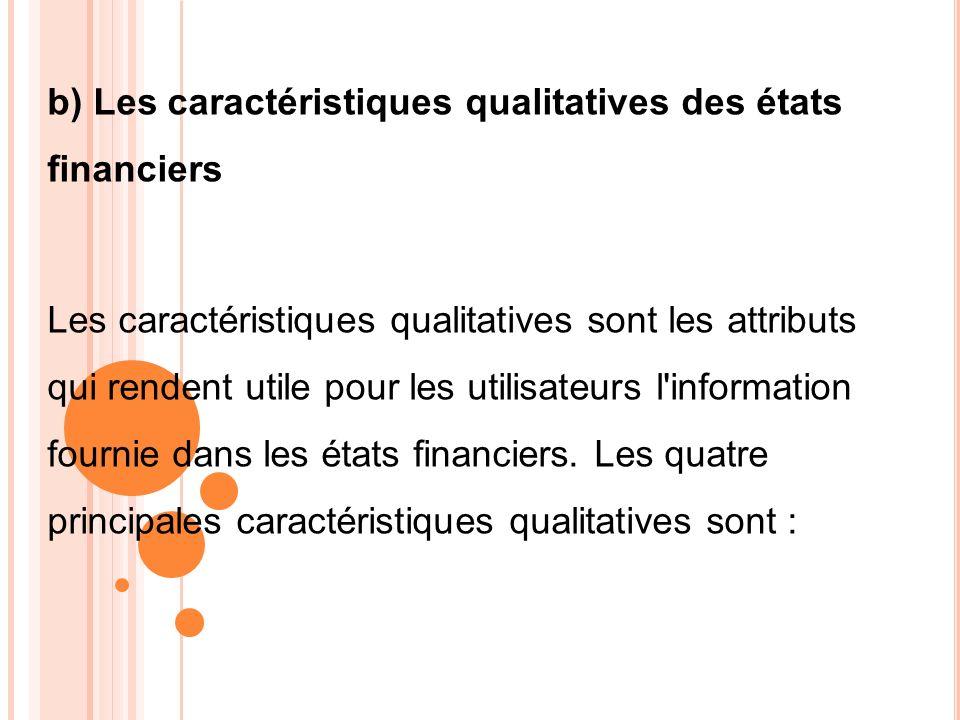 b) Les caractéristiques qualitatives des états financiers