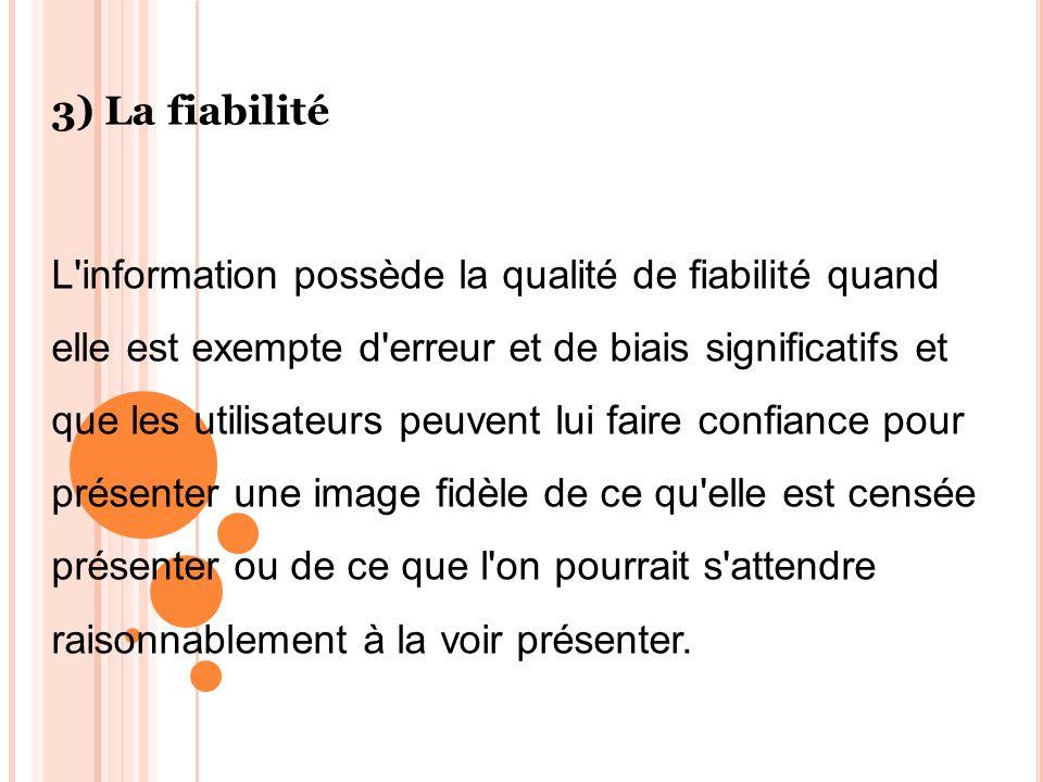 3) La fiabilité