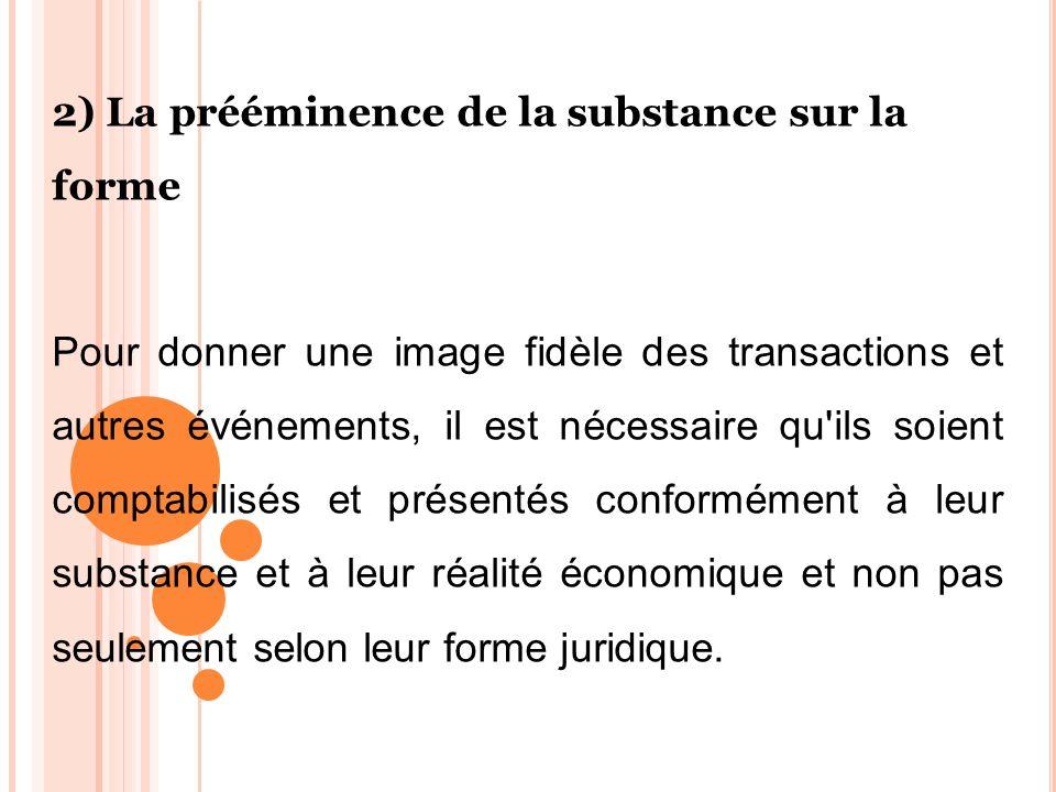 2) La prééminence de la substance sur la forme