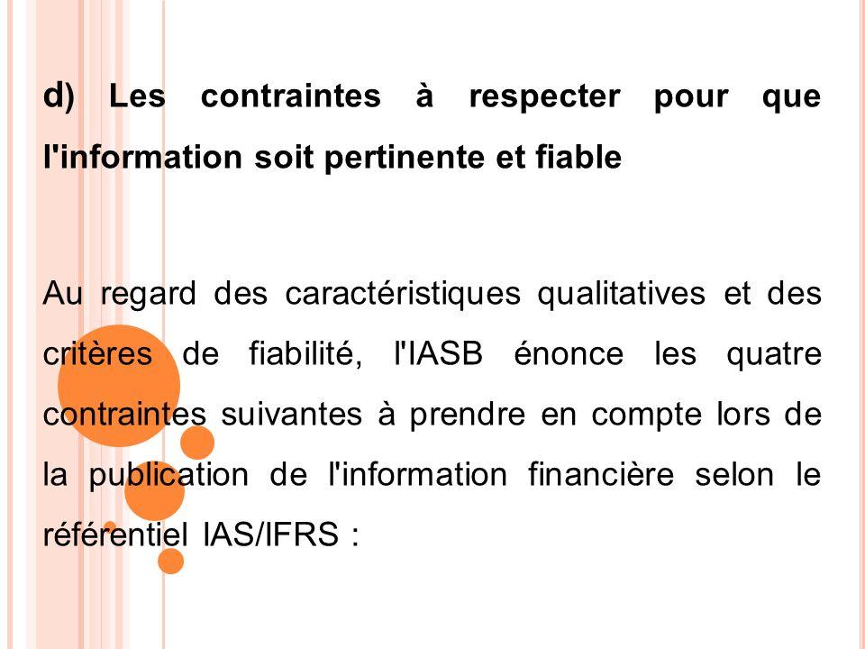 d) Les contraintes à respecter pour que l information soit pertinente et fiable