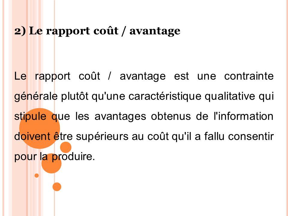 2) Le rapport coût / avantage