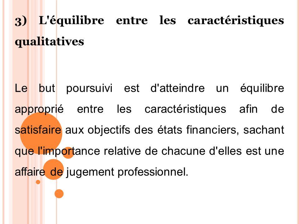 3) L équilibre entre les caractéristiques qualitatives