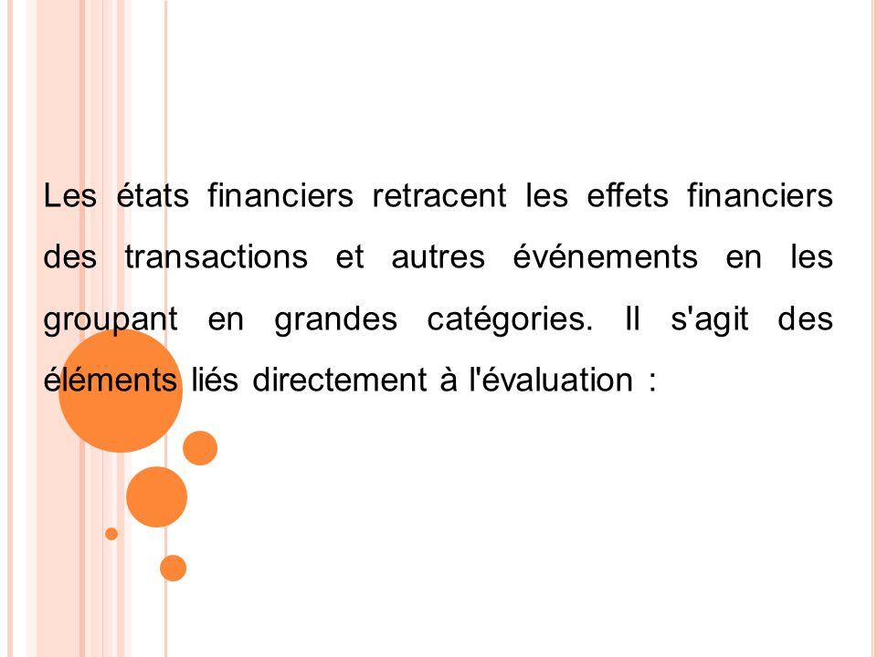 Les états financiers retracent les effets financiers des transactions et autres événements en les groupant en grandes catégories.